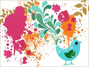 Dirty Grunge Background With Cute Bird