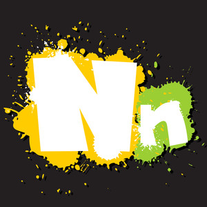 Dirty Letter N. Vector Illustration