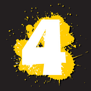 Dirty Number 4. Vector Illustration