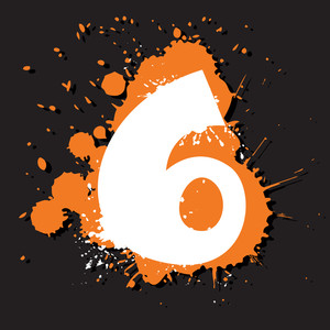 Dirty Number 6. Vector Illustration