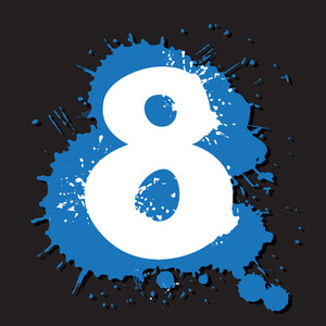 Dirty Number 8. Vector Illustration