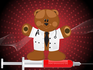Doctor Bear Standing On Injection