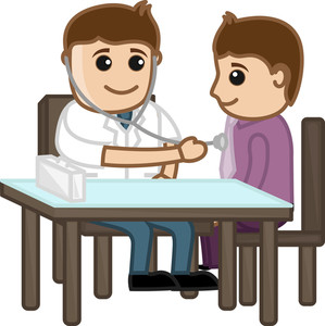 Doctor Check Ups Patient - Medical Cartoon Characters