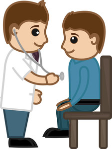Doctor Checking Up Patient - Medical Cartoon Vector Character