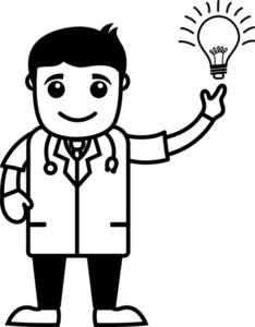 Doctor Got An Idea - Medical Cartoon Characters