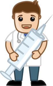 Doctor Having Syringe - Medical Cartoon Vector Character