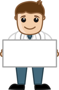 Doctor Holding Blank Banner - Office Cartoon Characters