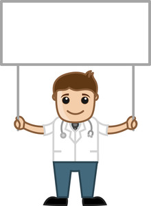 Doctor Holding Blank Board - Medical Cartoon Characters