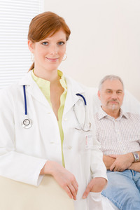 Doctor office - portrait female physician with senior patient
