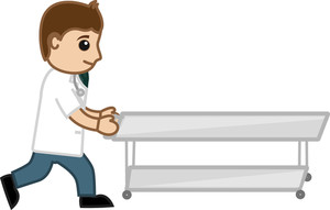 Doctor Pushing Stretcher - Medical Cartoon Vector Character