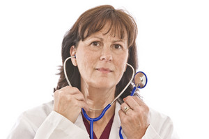 Doctor Putting On Stethoscope