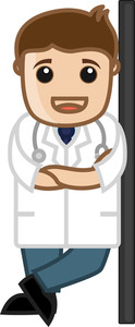 Doctor Standing Smiling - Office Cartoon Characters