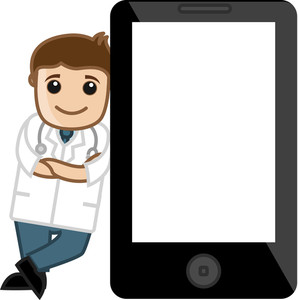 Doctor Standing With Tablet Device - Office Cartoon Characters