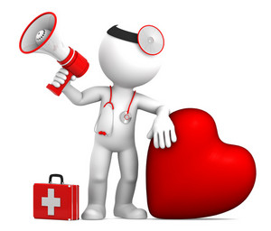 Doctor With Big Red Heart And Stethoscope