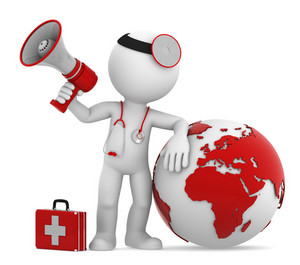 Doctor With Globe And Megaphone. European And African Side.
