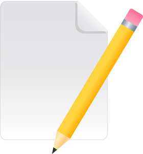 Document Icon With Pencil On White Background