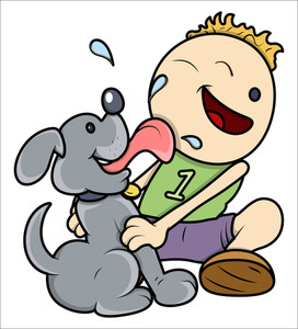 Dog Licking Face Of Kid - Vector Illustrations