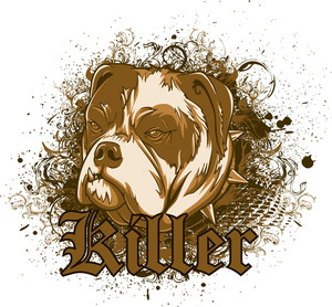 Dog With Grunge Vector T-shirt Design