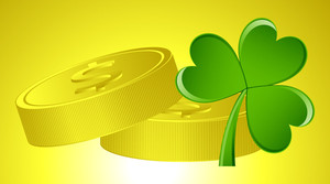 Dollar Coins With Shamrock Vector