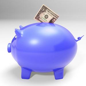 Dollar Entering Piggybank Showing American Savings