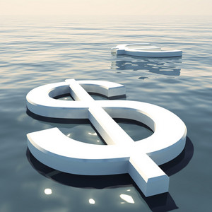 Dollar Floating And Euro Going Away Showing Money Exchange Or Forex