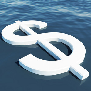 Dollar Floating Showing Money Wealth Or Earnings