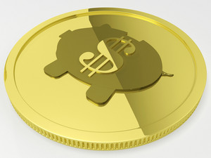 Dollar Piggy Coin Showing American Currency