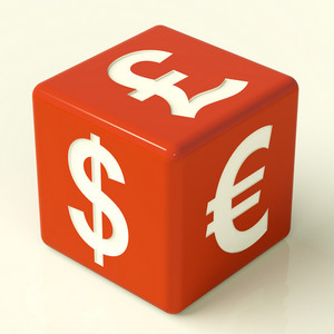 Dollar Pound And Euro Signs On Dice