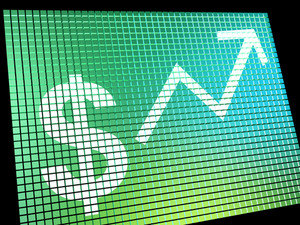 Dollar Sign And Up Arrow Monitor As Symbol For Earnings Or Profit