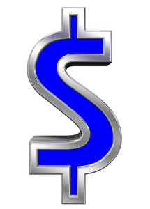 Dollar Sign From Blue With Chrome Frame Alphabet Set