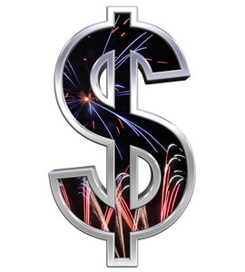 Dollar Sign From Firework With Chrome Frame Alphabet Set