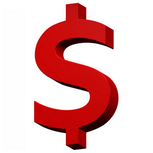 Dollar Sign From Red Alphabet Set, Isolated On White