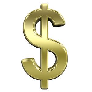 Dollar Sign From Shiny Gold Alphabet Set