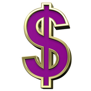 Dollar Sign From Violet With Gold Shiny Frame Alphabet Set