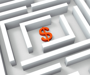 Dollar Sign In Maze Shows Dollars Credit