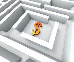 Dollar Sign In Maze Shows Finding Dollars