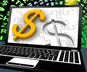 Dollar Sign On Laptop Showing American Currency