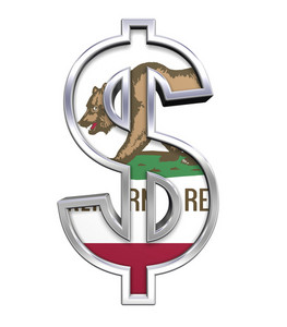 Dollar Sign With California Flag Isolated On White.