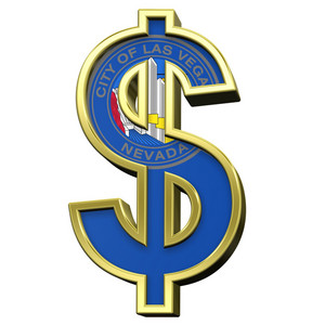 Dollar Sign With Las Vegas Flag Isolated On White.