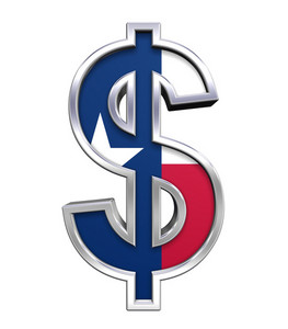 Dollar Sign With Texas Flag Isolated On White.