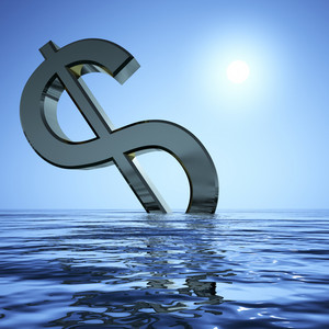 Dollar Sinking And Sun Showing Depression Recession And Economic Downturn