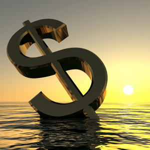Dollar Sinking And Sunset Showing Depression Recession And Economic Downturn