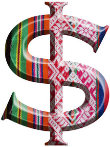 Dollar Symbol Made With Hand Made Woolen Fabric
