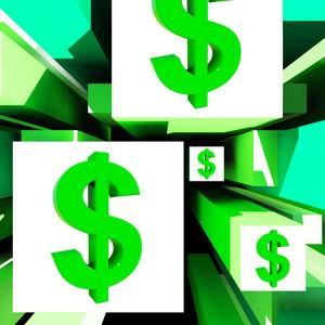 Dollar Symbol On Cubes American Earnings