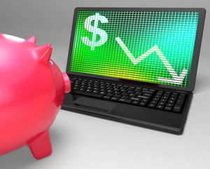 Dollar Symbol On Laptop Shows American Monetary Risks
