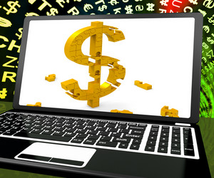 Dollar Symbol On Laptop Shows Online Currency Exchange