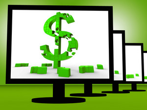 Dollar Symbol On Monitor Shows Investment
