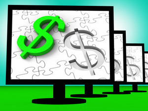 Dollar Symbol On Monitors Showing American Finances