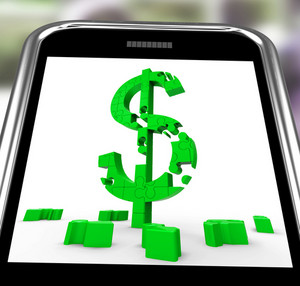 Dollar Symbol On Smartphone Showing American Bucks
