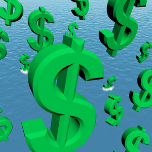 Dollar Symbols Falling In The Ocean Showing Depression Recession And Economic Downturn